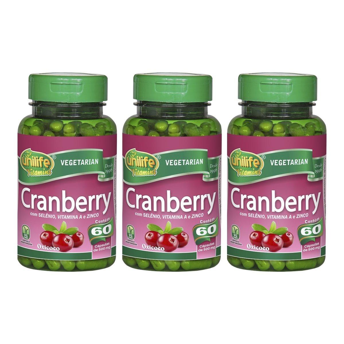 Cranberry 60 Cápsulas Unilife com Selênio Vitamina A e Zinco Kit 3 Unidades