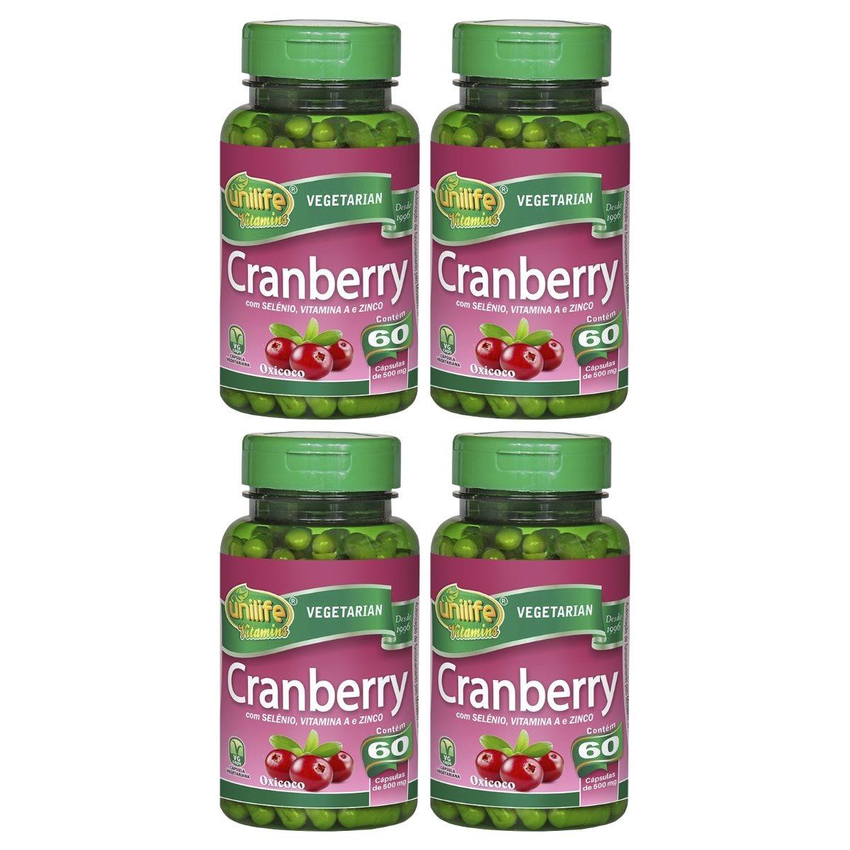 Cranberry 60 Cápsulas Unilife com Selênio Vitamina A e Zinco Kit 4 Unidades