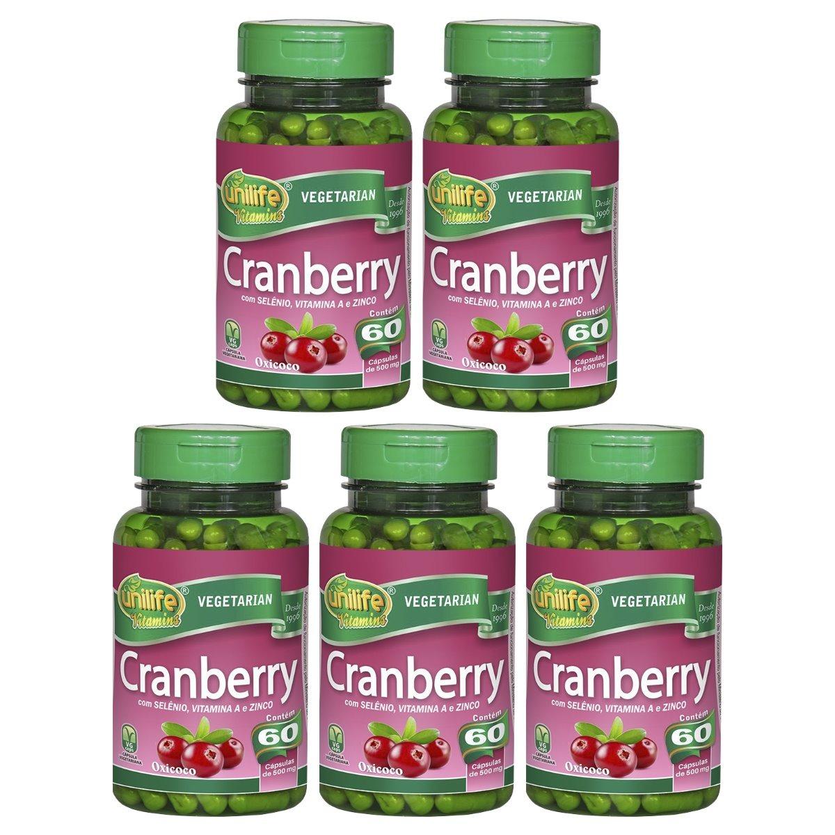 Cranberry 60 Cápsulas Unilife com Selênio Vitamina A e Zinco Kit 5 Unidades