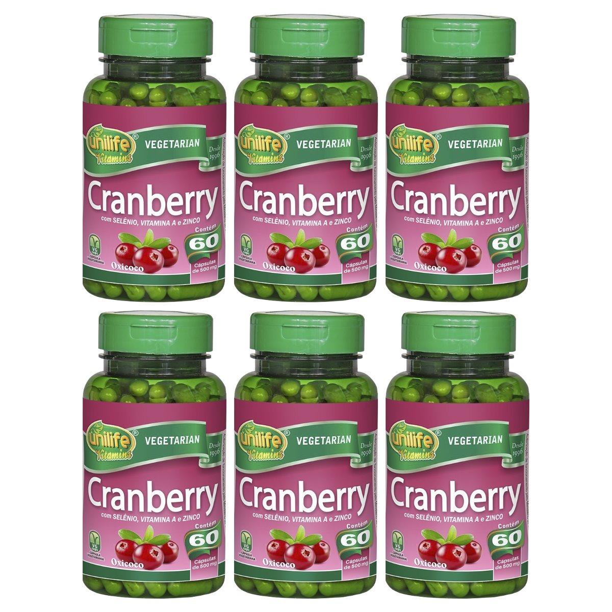 Cranberry 60 Cápsulas Unilife com Selênio Vitamina A e Zinco Kit 6 Unidades