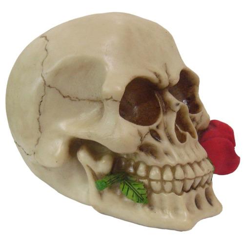 cranio caveira com flor na boca decorativo resina