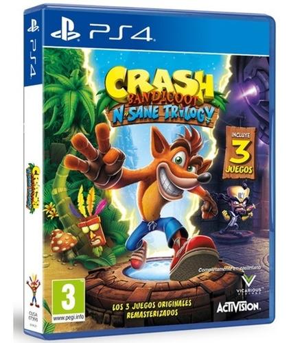 crash bandicoot ps4. 3 juegos. + 2 misiones español. fisico