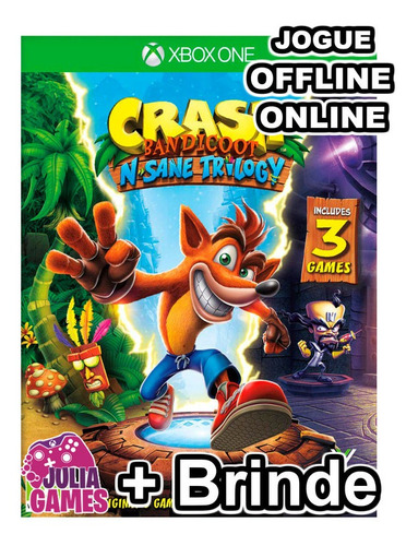 crash bandicoot xbox one midia digital + 1 jogo de brinde
