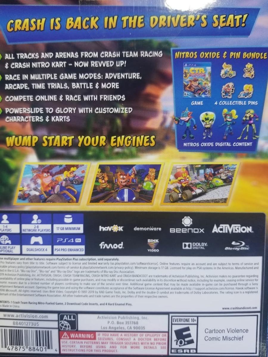 Crash Team Racing Nitro Fueled Nitros Oxide & Pin Bundle Ps4