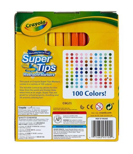 crayola 100 ct supertips / arte con canto de tanteo bundle m