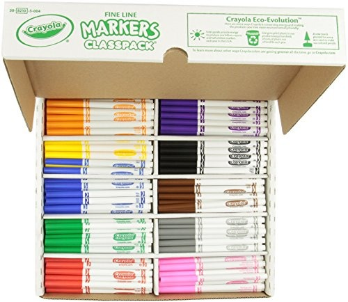 Crayola 200 Ct Fine Marcadores De Línea, 10 Colores Surtido ...