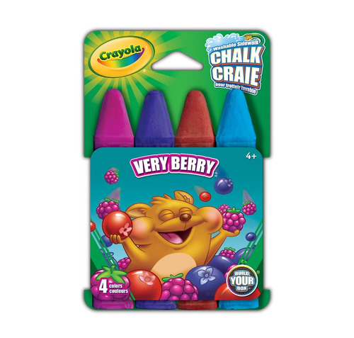 crayola - giz chalk lavável p/calçada 4 cores - very berry