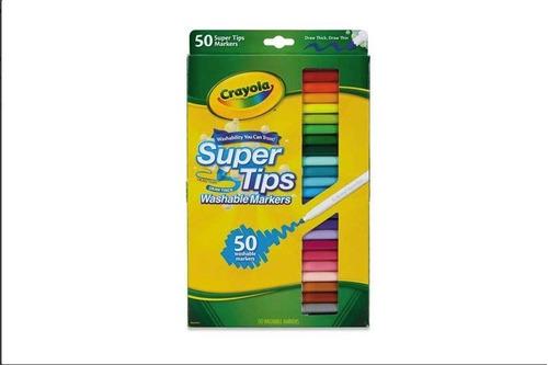 crayola super tips - marcadores lavables, 50 colores variado