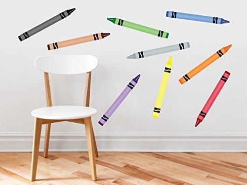 crayon etiquetas de la pared de tela - conjunto de 9 colore