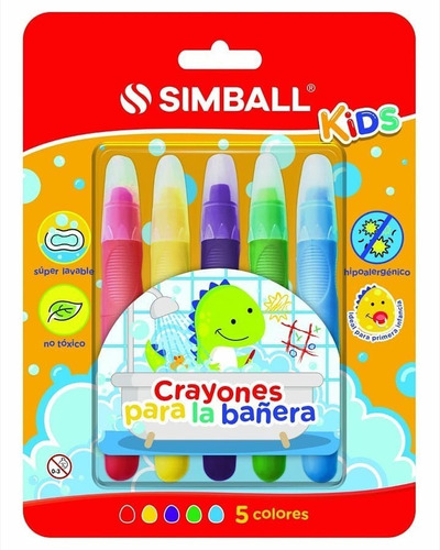 crayon simball kids para la bañera o baño 5 colores