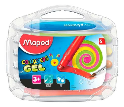 crayones gel maped color peps x6 lavables acuarelables edu