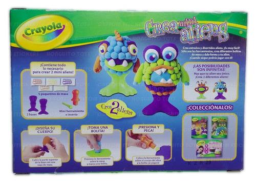 crea mini aliens de crayola, set con model magic