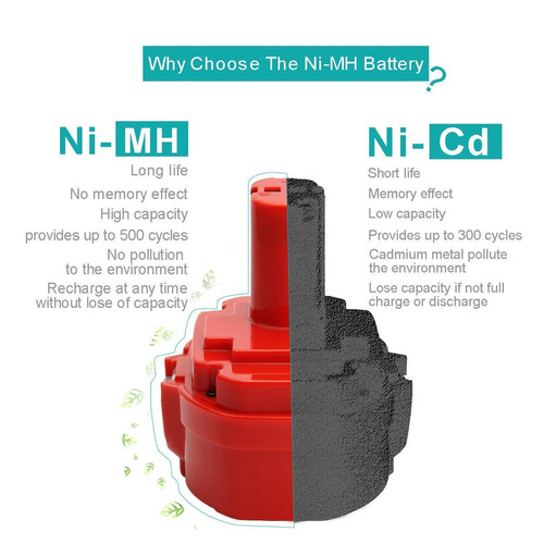creabest 18v 3.0ah de alto capacidad de ni - mh batería par