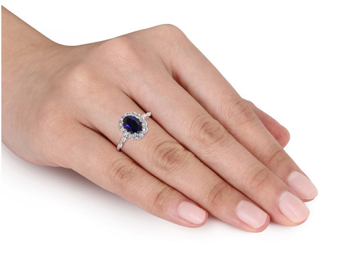 creado azul zafiro y topacio blanco manera del anillo de 2 5