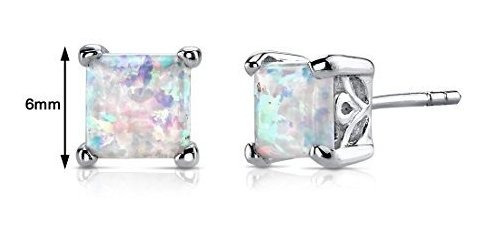 creado opal stud earrings plata esterlina princesa cut 200 q
