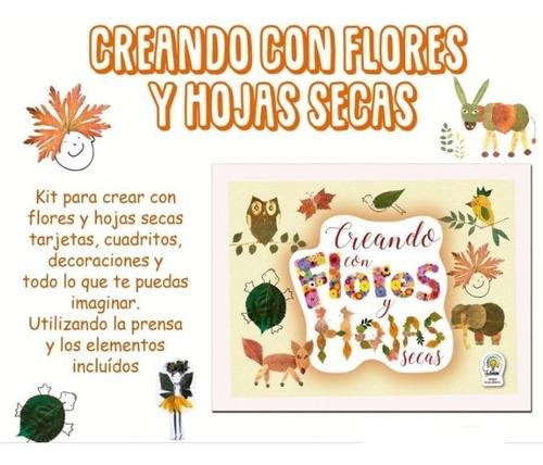 creando flores y hojas secas - kit de arte niños creatividad
