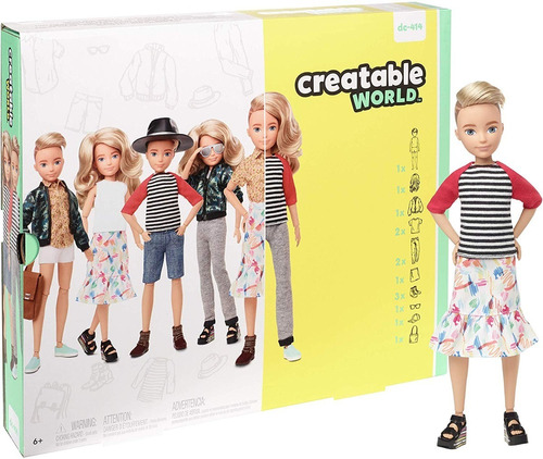 creatable world barbie mattel loiro dc-414 fashion