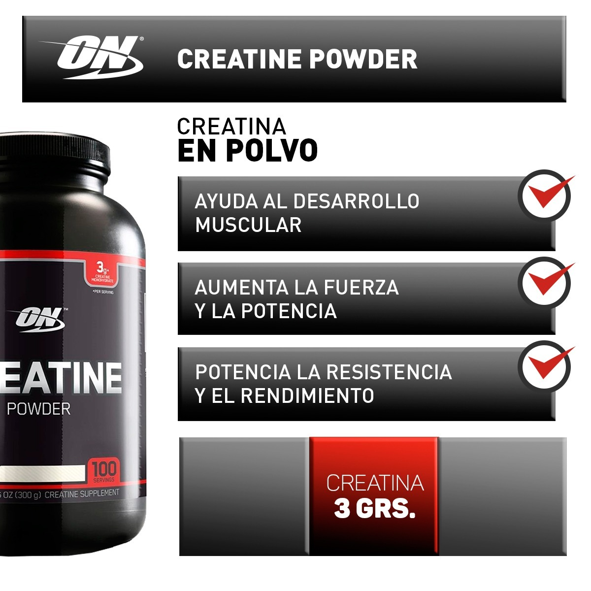 Creatina Black 300gr Optimum Nutrition X 2 Unidades - $ 2.328,00 ...