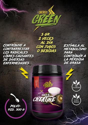 creatina con maca negra polvo 300 g - energy green