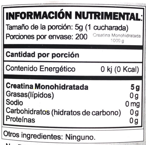 creatina gat 1000 gramos (200 porciones)