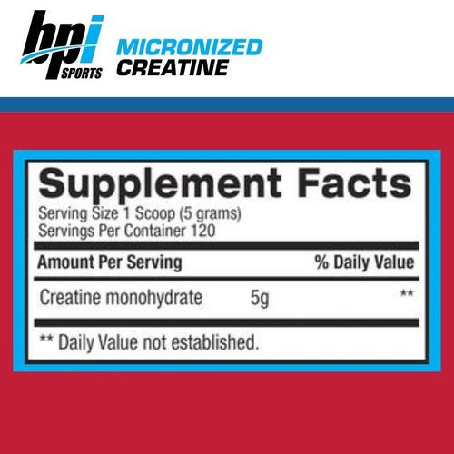 creatina micronizada monohidrato x 600 grs, bpi sports envio sin cargo a todo el pais!!