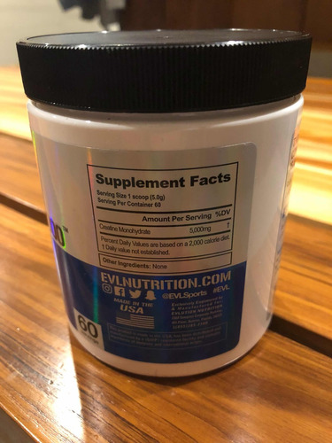 creatina monohidratada evl 5 gramos - 60 servidas