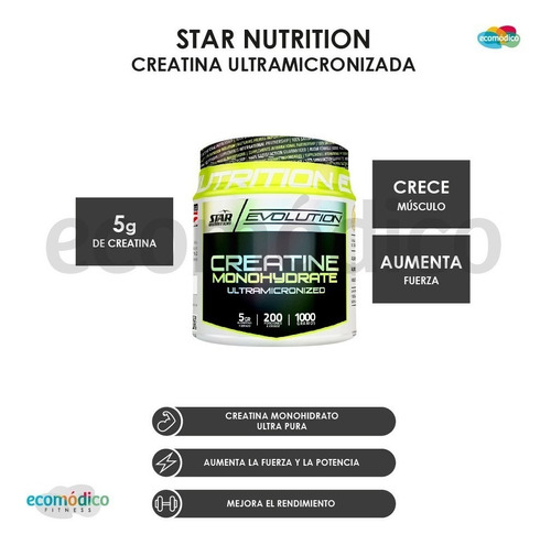 creatina star nutrition 1 kg monohidrato fuerza resistencia