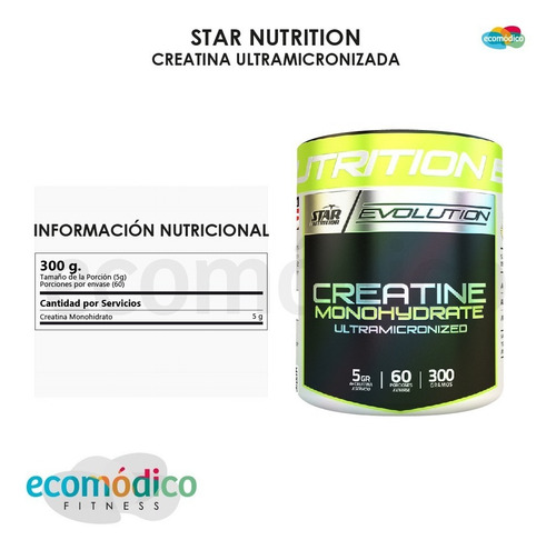 creatina star nutrition 300 gr x 3 unidades monohidratada
