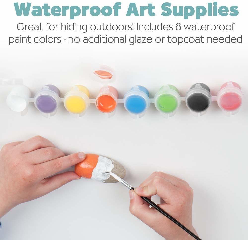 Rock Painting Kit Hide Seek Waterproof Paint Colors Stickers Outdoor Creativity