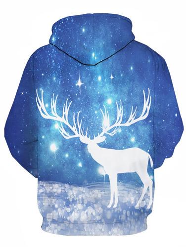 creativo diseño 3d caribou galaxia impresión jersey capucha