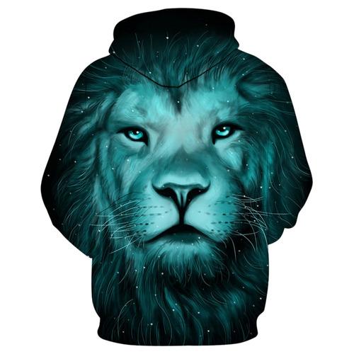 creativo diseño 3d león galaxia impresión jersey capucha