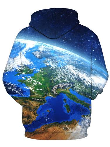 creativo diseño 3d tierra galaxia impresión jersey capucha