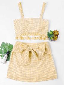 b04413196 Creativo Diseño Frente Tie Falda Guingán Dos Pieza Set
