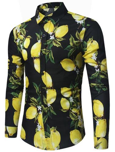 creativo diseño limón impresión largo manga camisa colorido