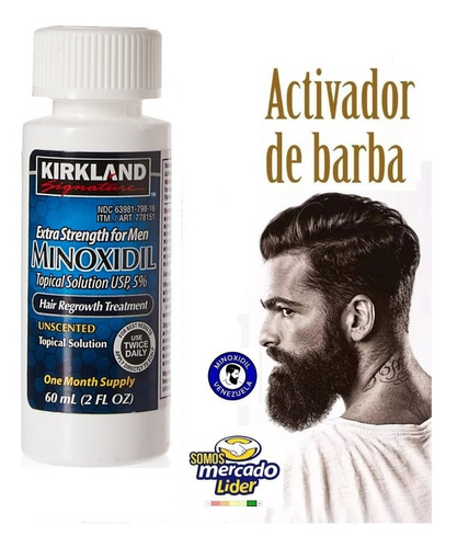 crece barba cabello natural minoxidil kirklandl 60ml +gotero