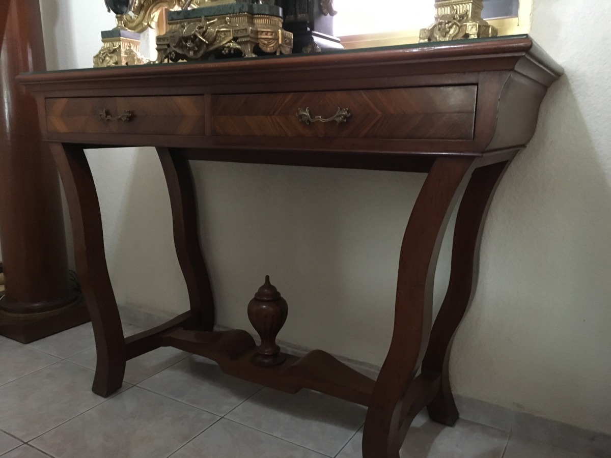 Credenza De Madera Con Espejo : Credenza de caoba con columnas lampara madera en