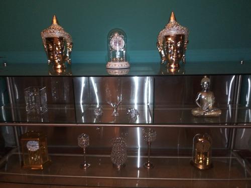 credenza moderna acero inoxidable y vidrio templado