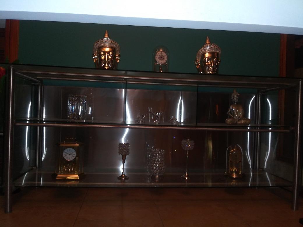 Credenza Con Vidrio : Credenza moderna acero inoxidable y vidrio templado u s