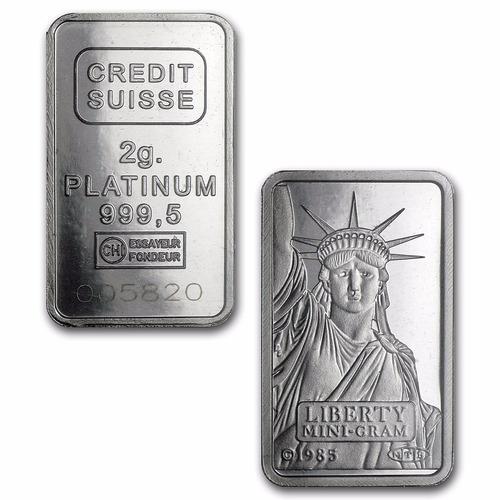 crédito suizo 2 gramos platino puro 999.5 con certificado.