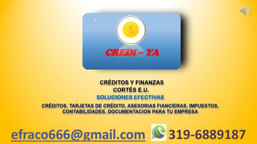 créditos, tarjetas de crédito, asesorías financieras