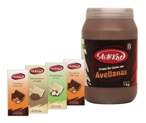 crema de cacao con avellanas y 4 tabletas de chocolate