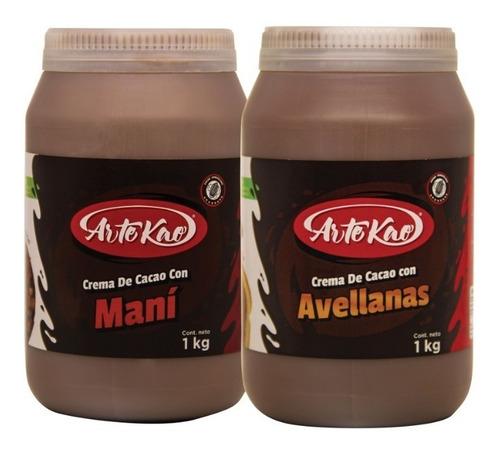 crema de cacao con avellanas y crema de cacao con mani