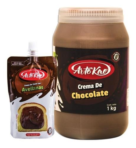 crema de cacao con avellanas y crema de chocolate