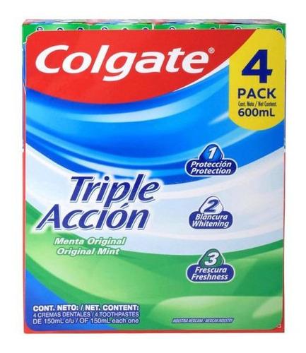 crema dental anticaries colgate triple acción con flúor 4 pz