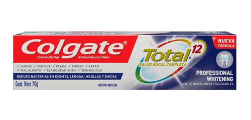 crema dental colgate total 12 professional whitening 70g