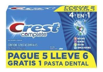 crema dental crest complete 6 pzas de 100 ml