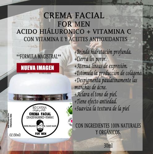 crema facial masculina/acido hialuronico+vitamina c y e/30ml