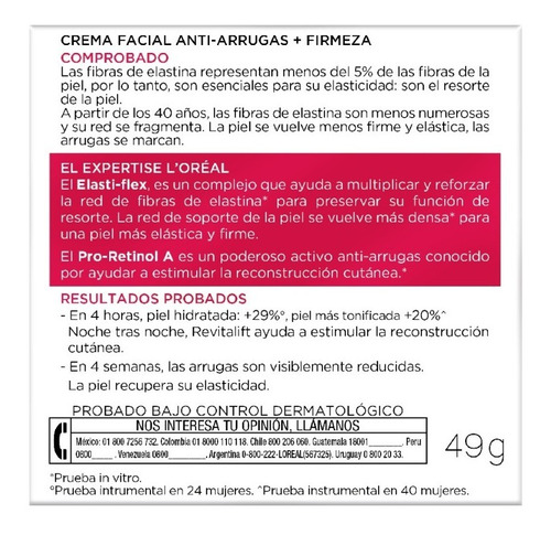crema facial noche antiarrugas revitalift l'oréal 50ml