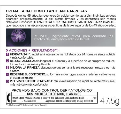 crema hidratante antiarrugas 45+ hidra total5 loreal 50ml