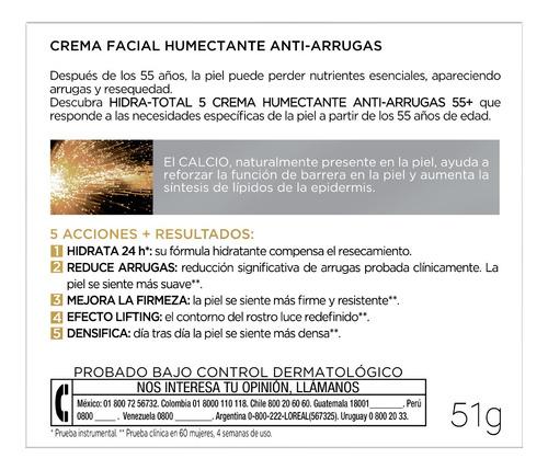 crema hidratante antiarrugas 55+ hidra total5 loreal 50ml